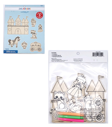Little Makers Wood Coloring Kit-Princess