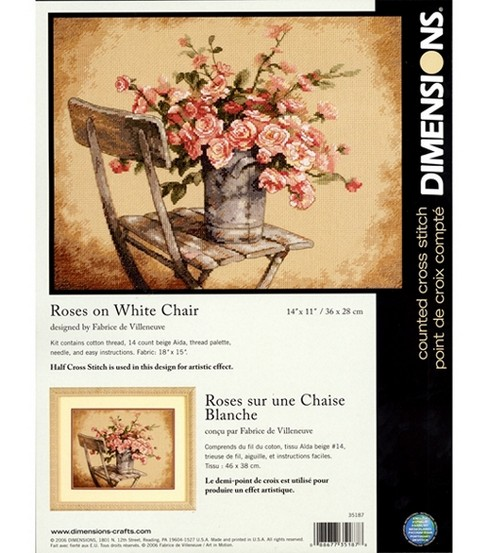 Dimensions Counted Cross-Stitch Kit Roses On White Chair