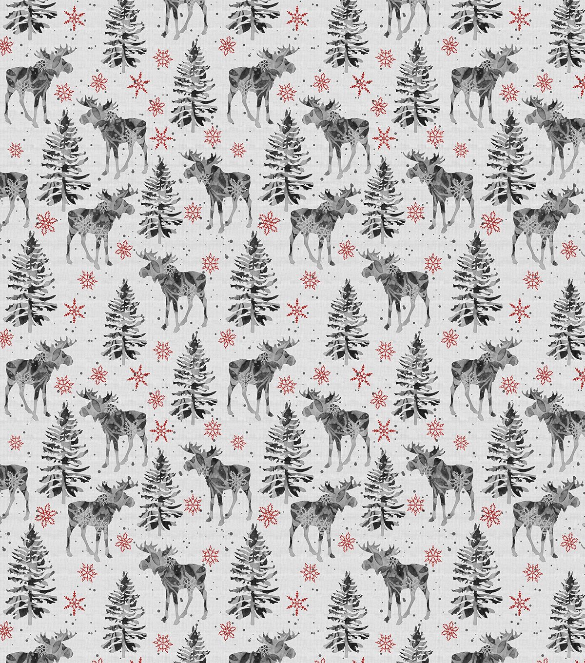 Novelty Cotton Fabric-Winter Moose & Forest
