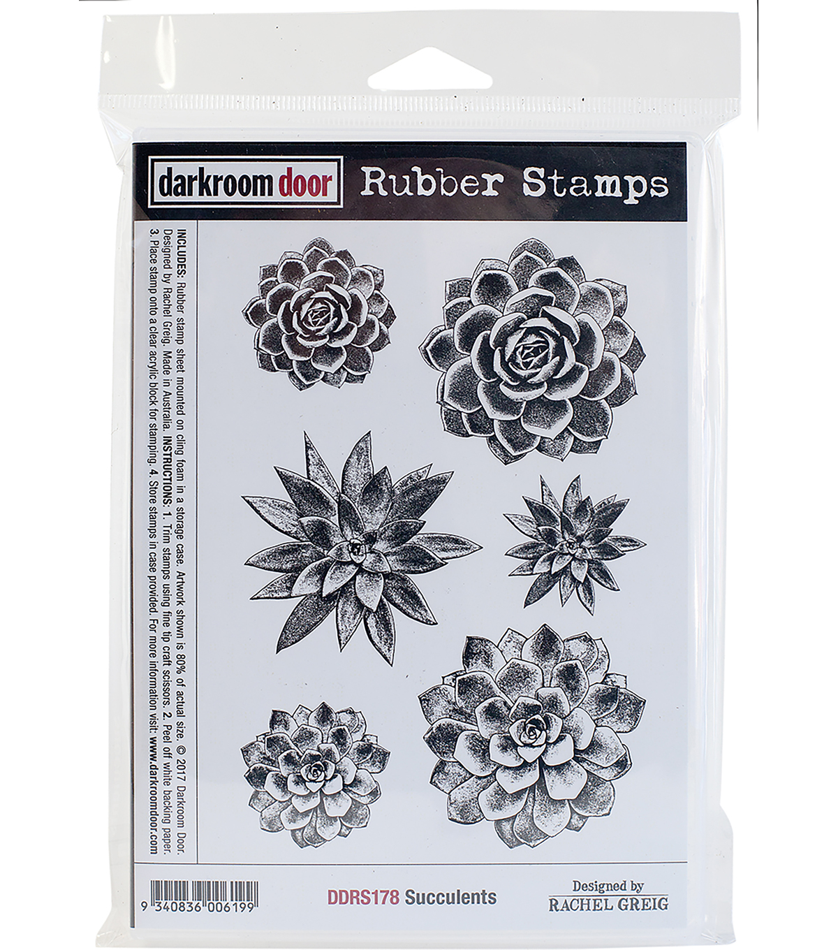 Darkroom Door Cling Stamps 7\u0022X5\u0022-Succulents