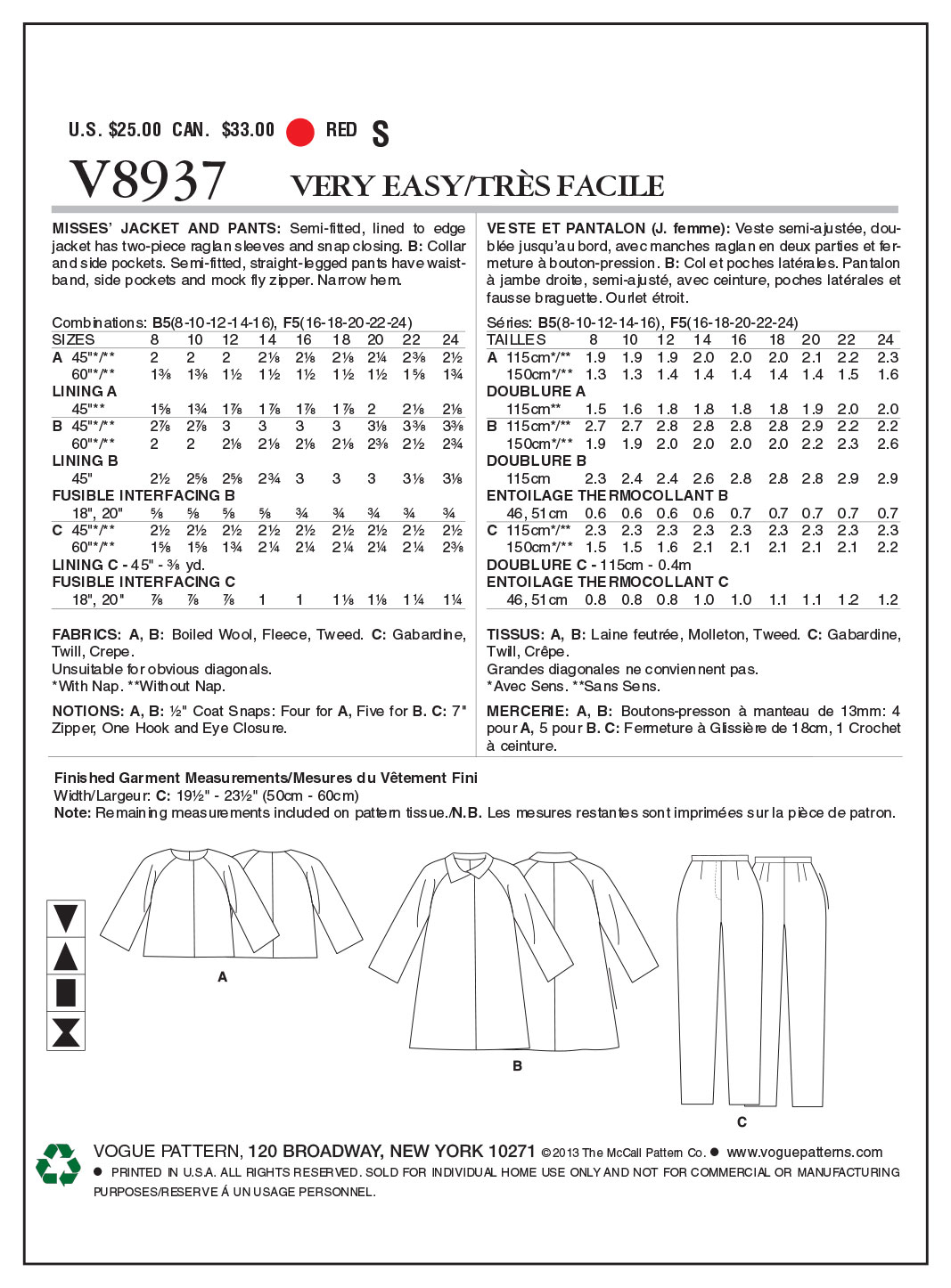 Misses\' Jacket and Pants-8-10-12-14-16 Pattern | JOANN