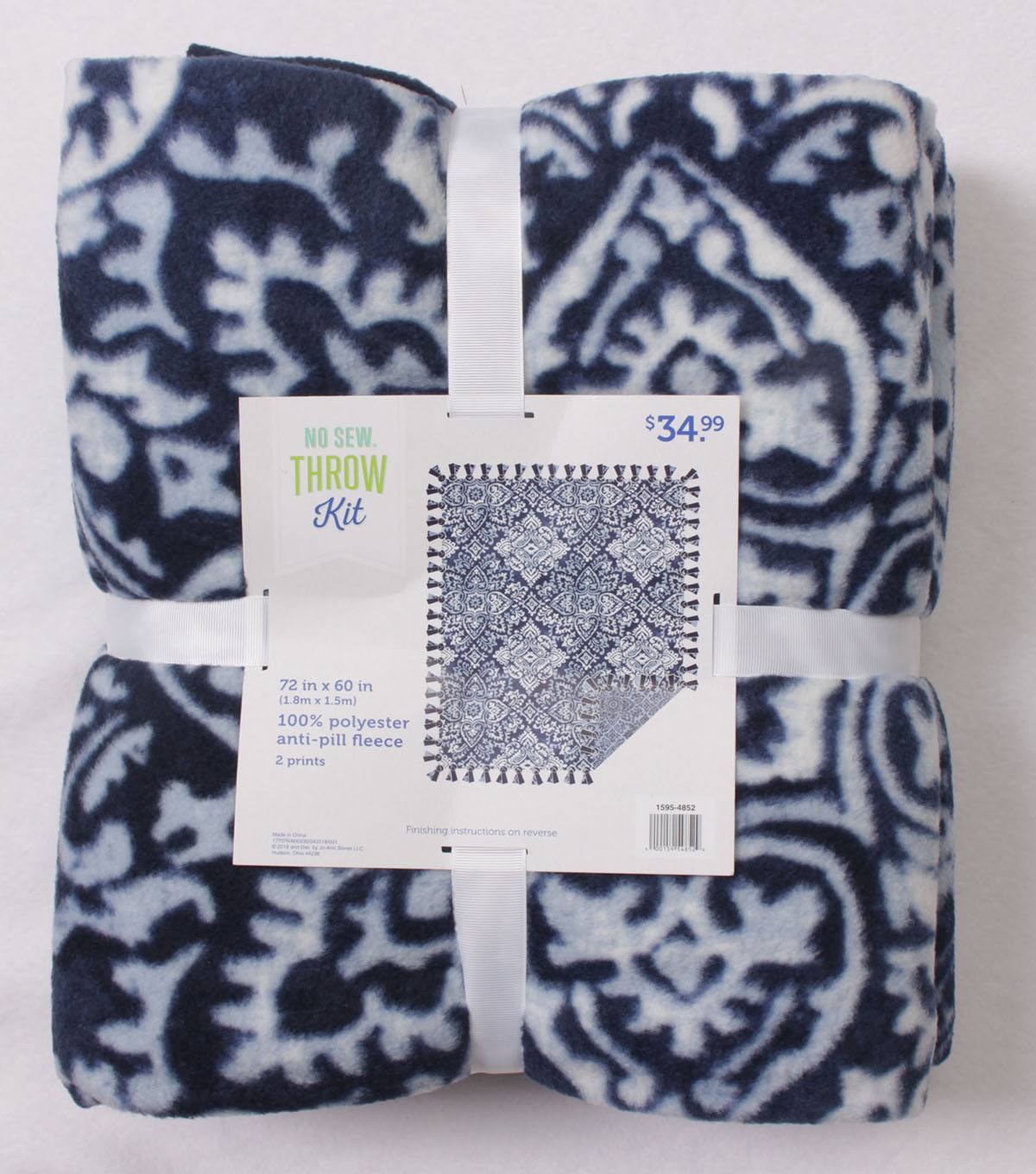 No Sew Fleece Throw Kit 72\u0027\u0027x60\u0027\u0027-Blue Ink Stamp