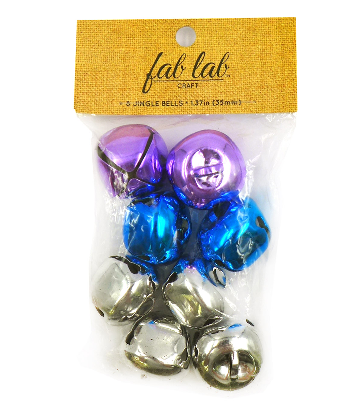 Jingle Bells 35mm 8/Pkg-Silver/Purple/Blue