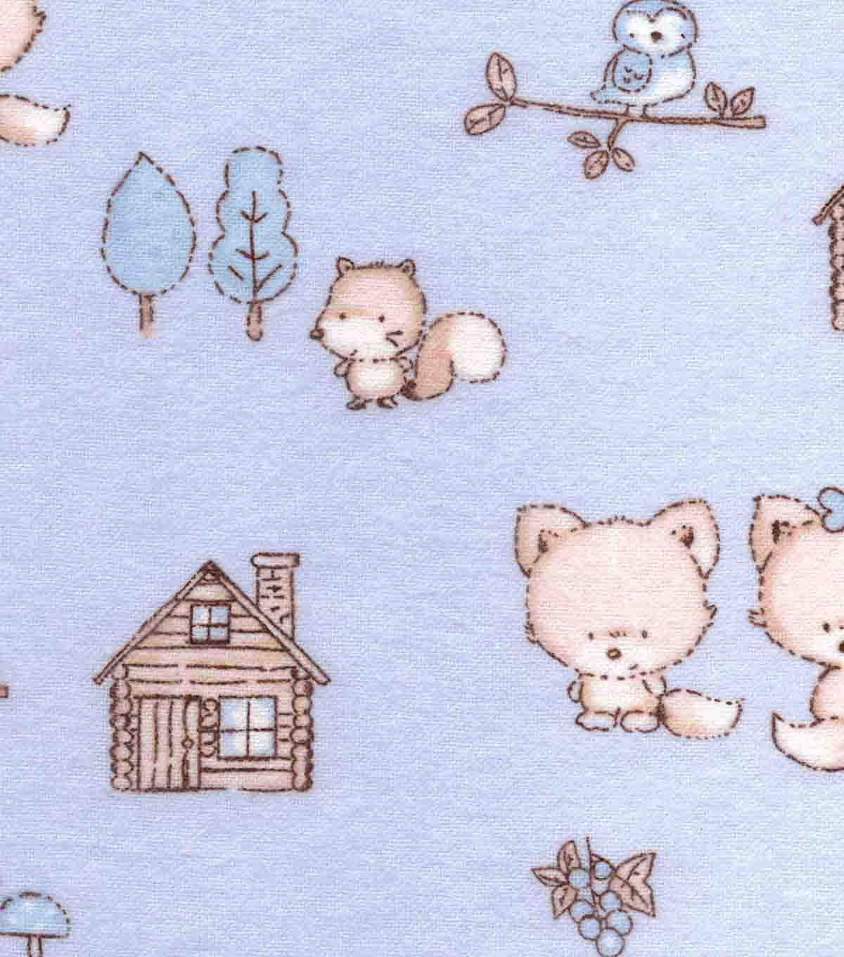 Snuggle Flannel Fabric -Baby Foxes