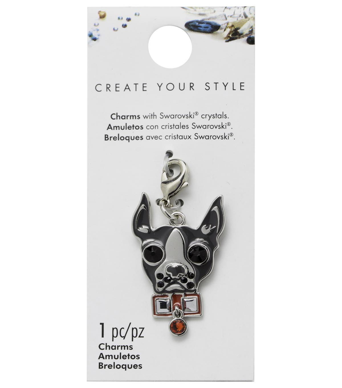 Swarovski Create Your Style Dog Charm-Red & Black Crystals