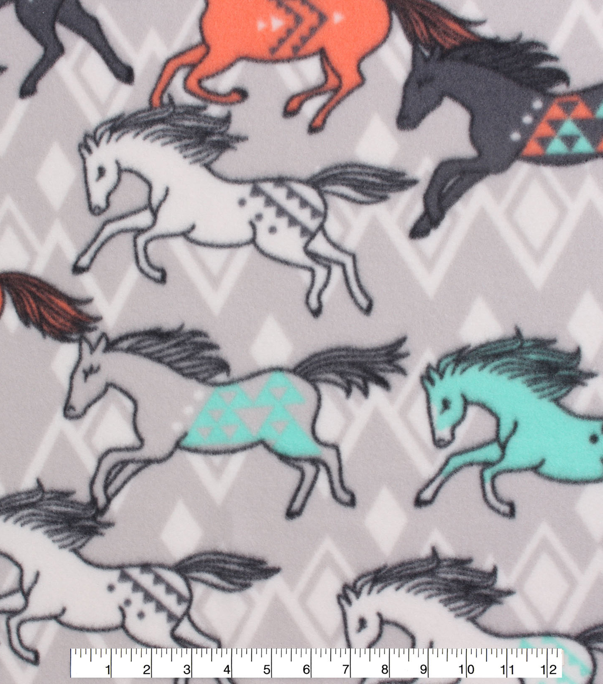 Blizzard Fleece Fabric -Breeze Tribal Horses