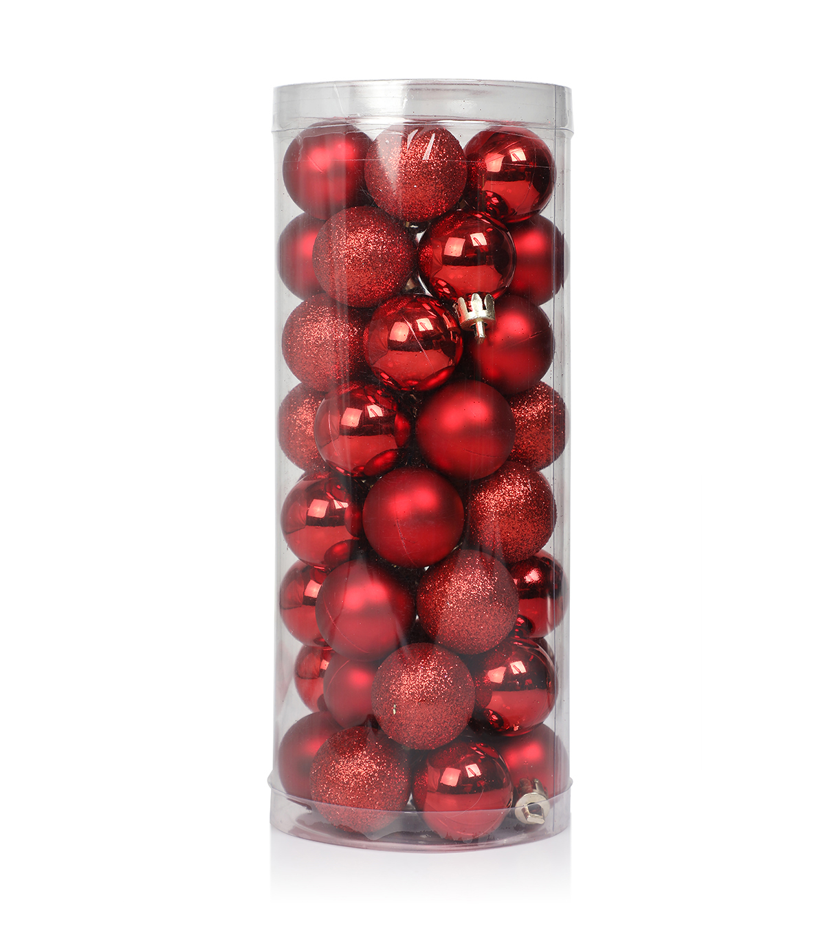 Maker\u0027s Holiday Christmas 48 pk 30 mm Shatterproof Ornaments-Red Solid