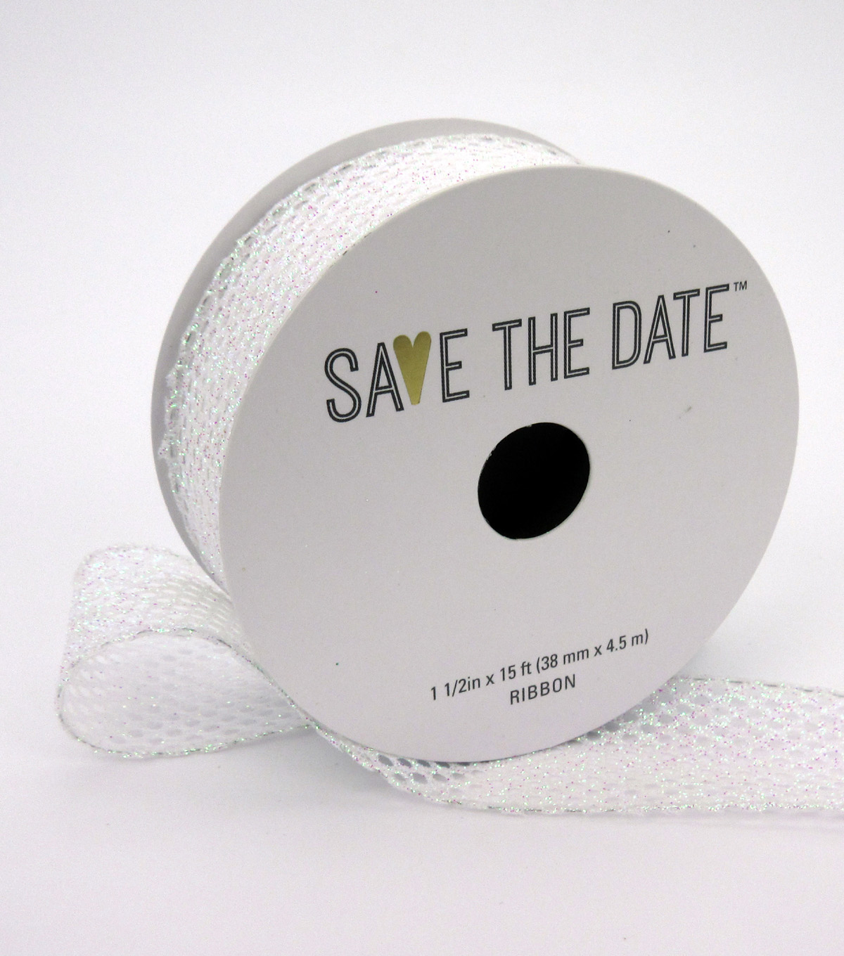 Save the Date 1.5\u0022 x 15ft Ribbon-Textured Irridescent Glitter