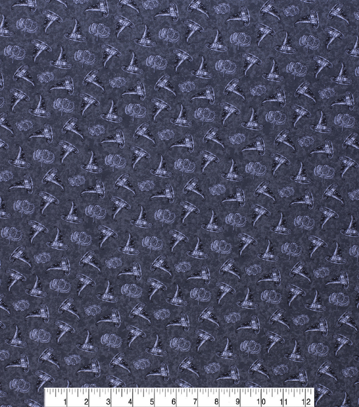 Halloween Cotton Fabric-Tossed Witches Hats & Pumkins