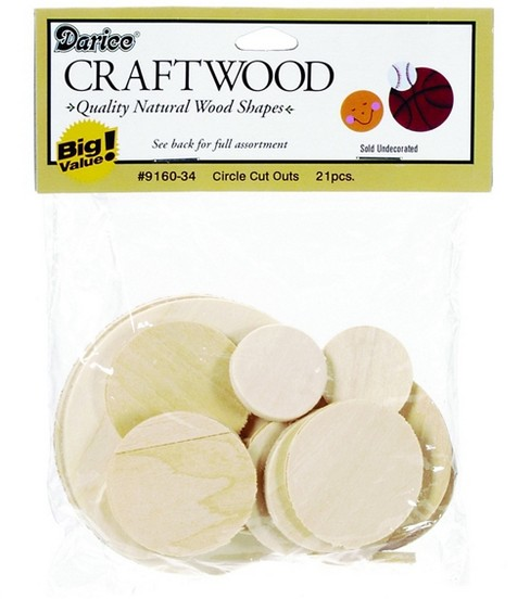 Darice Big Value! Wood Cutouts-Circles