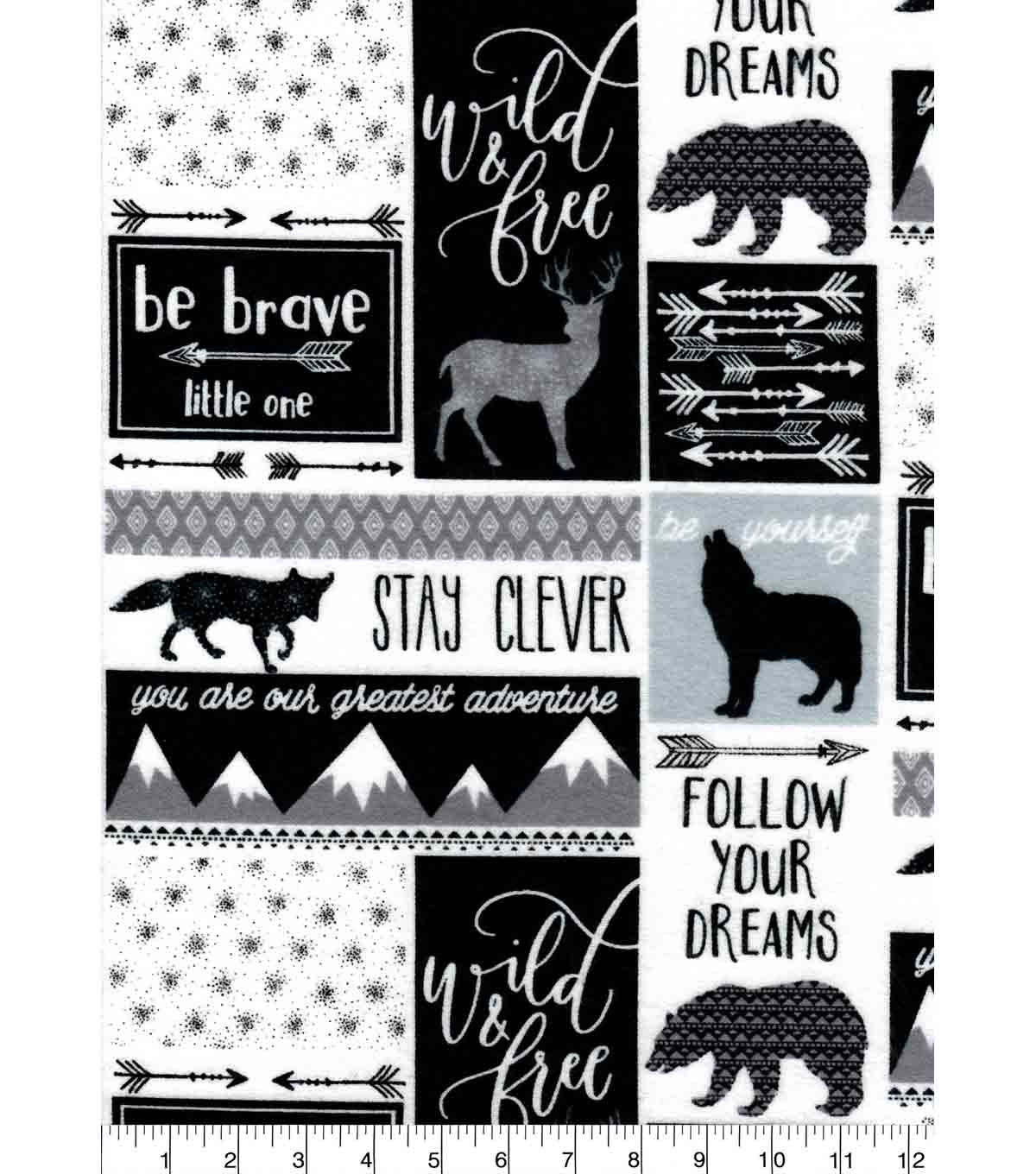 Nursery Flannel Fabric -Be Brave Patch