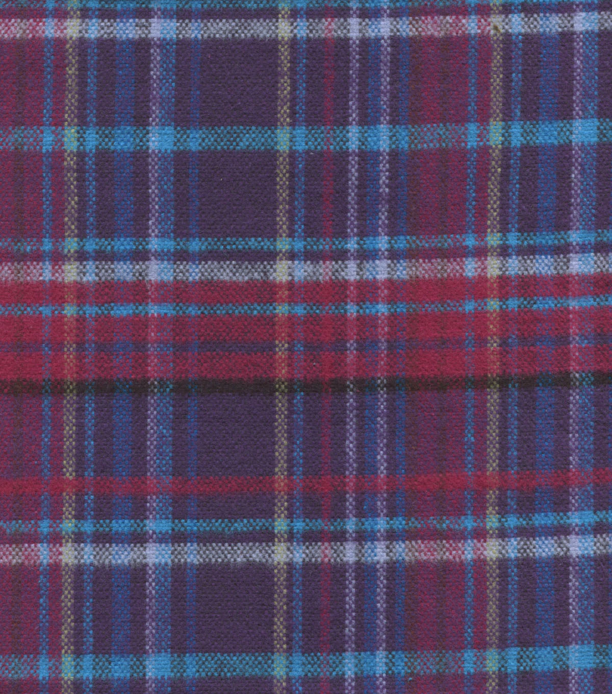 Plaid Brush Cotton-Purple Berry Tan