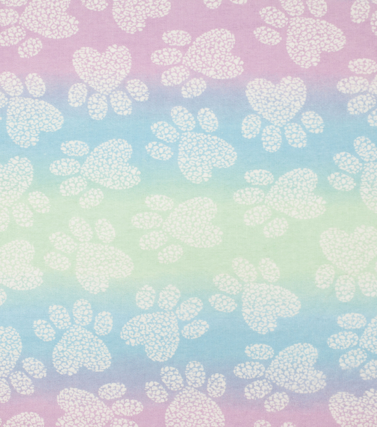 Super Snuggle Flannel Fabric-Paw Clusters on Pastel Tie Dye