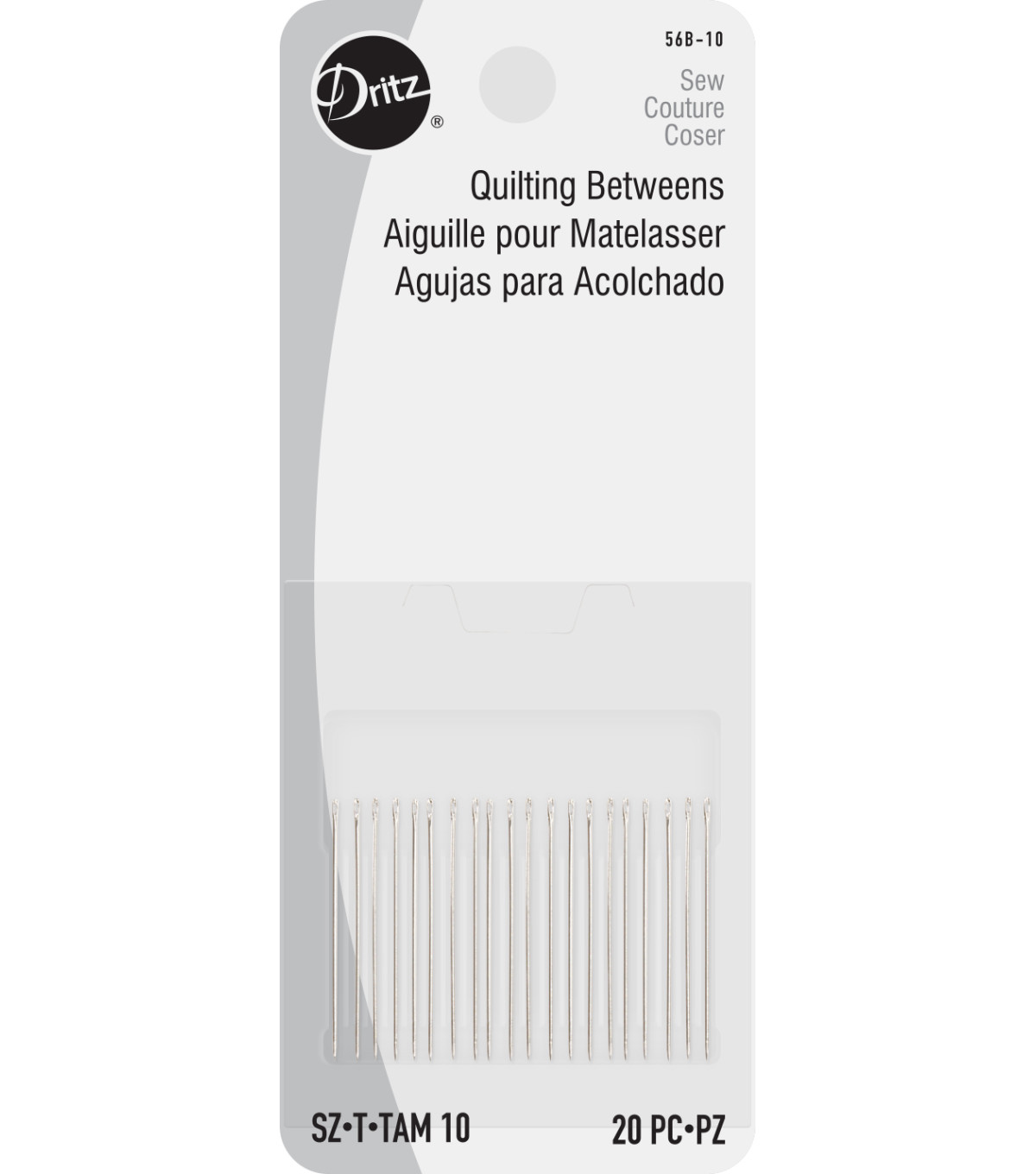 Dritz Quilting Betweens Hand Needles 20pcs Size 5/10, Size 10 20/pkg
