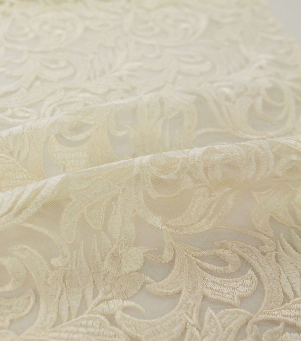 Save The Date Heavy Embroidered Mesh Fabric 52\u0027\u0027-Bright Eggnog