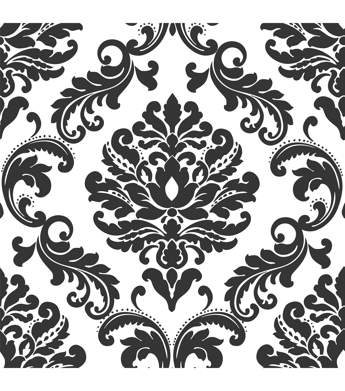 WallPops NuWallpaper Ariel Black and White Damask Peel And Stick Wallpaper