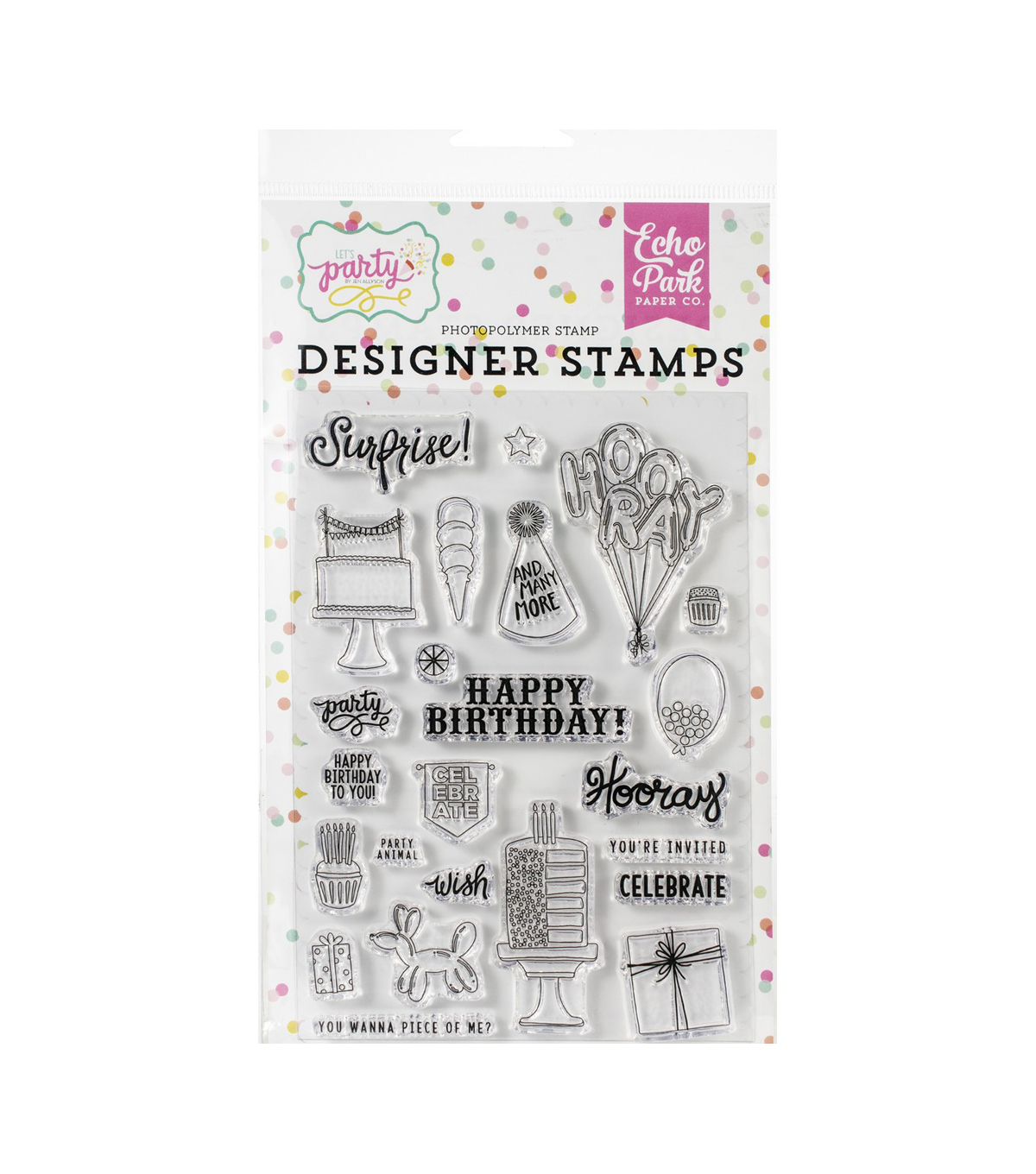 Echo Park Paper Co. Let\u0027s Party 24 pk Designer Stamps-Party Animal