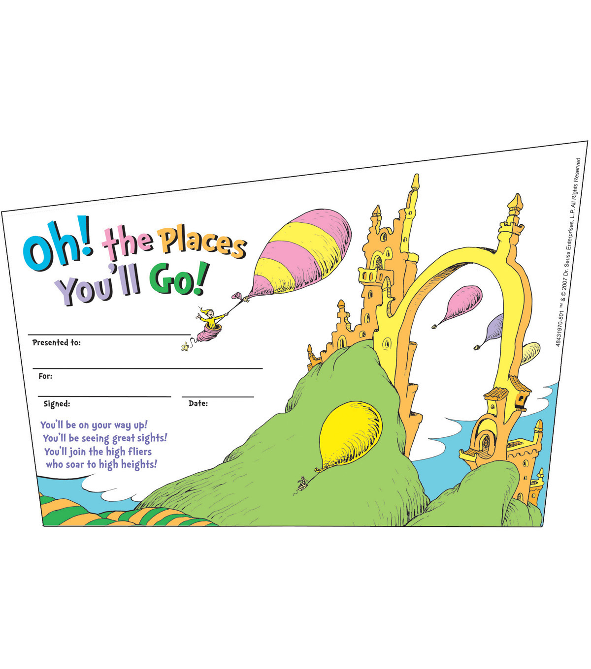 Eureka Dr. Seuss - Oh, The Places... Recognition Awards, 36 Per Pack