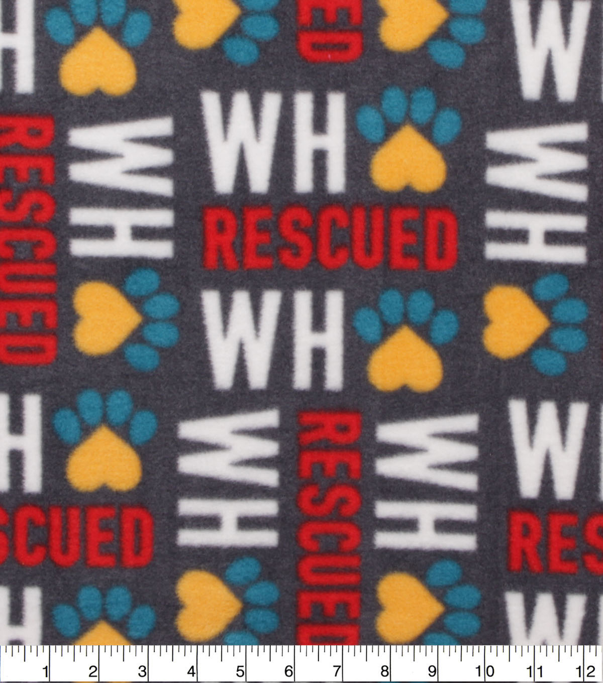 Anti-Pill Plush Fleece Fabric-Who Rescued Who Gray
