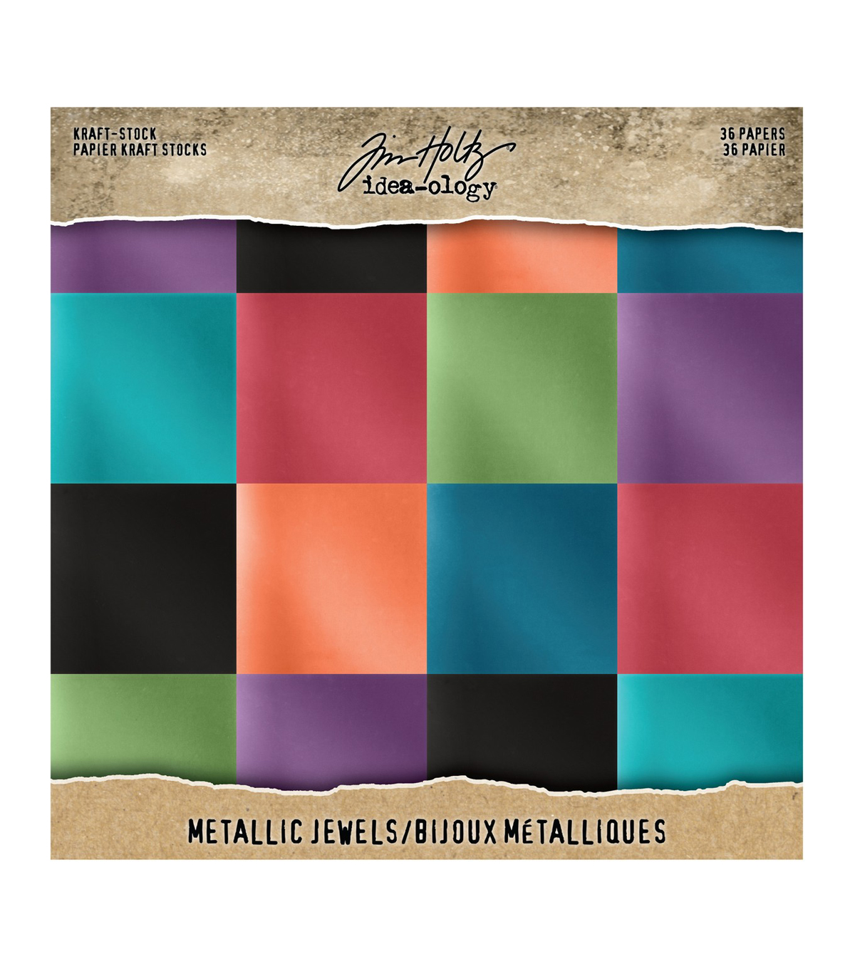 Tim Holtz Idea-Ology Kraft Metallic Paper Pad 8\u0022X8\u0022 36/Pkg-Jewels