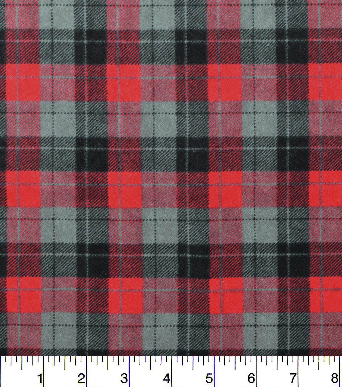 Snuggle Flannel Fabric -Skylar Red Black Plaid