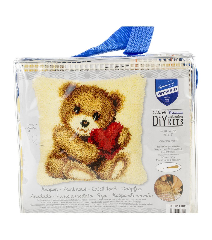 Vervaco Cushion Latch Hook Kit 16''X16''-Bear Cub W/Heart