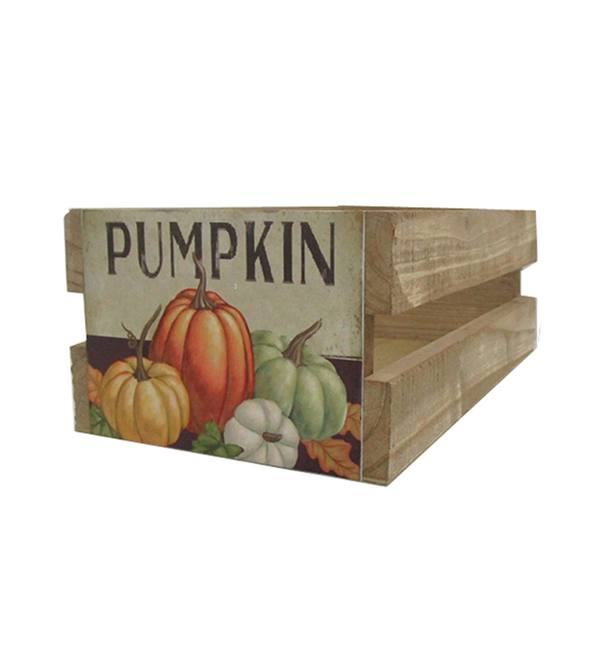 Blooming Autumn Wood Crate with Label-Pumpkin