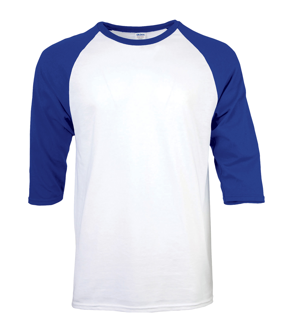 Gildan Large Adult Raglan Crew Sport T-Shirt, White-royal