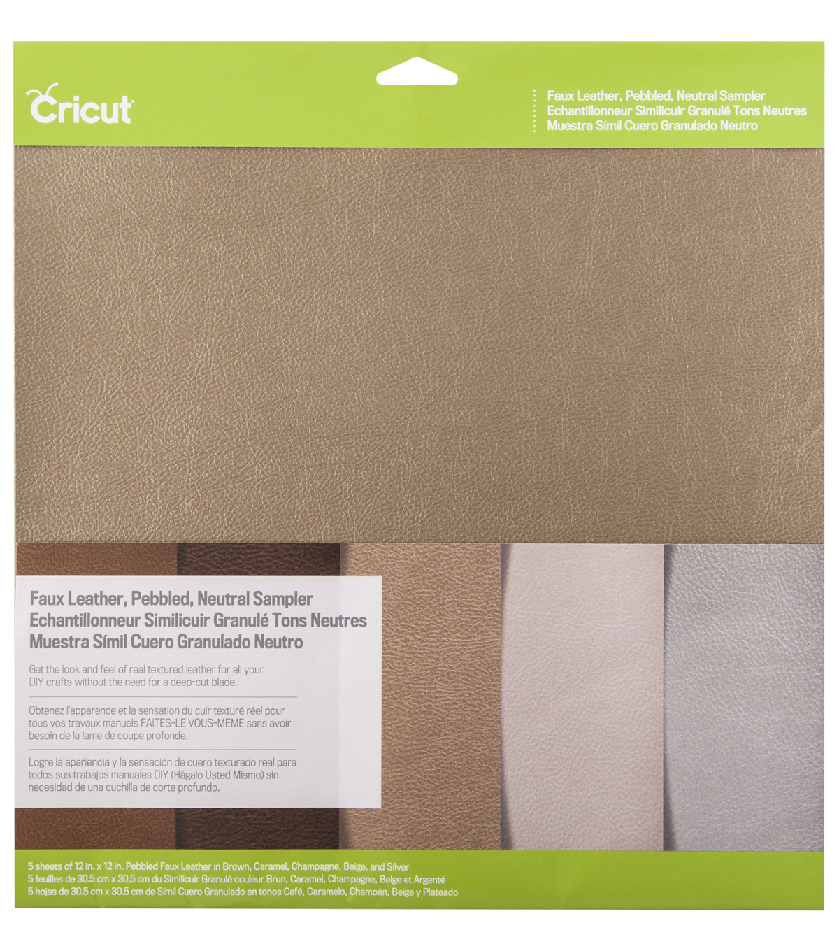 Cricut 12\u0027\u0027x12\u0027\u0027 Faux Leather Pebbled Sampler-Neutral
