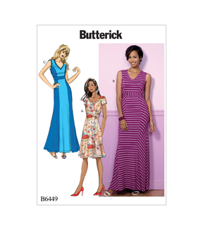 Butterick Pattern B6449 Misses\u0027 V-Neck or Scoopneck Dresses-Size 8-16