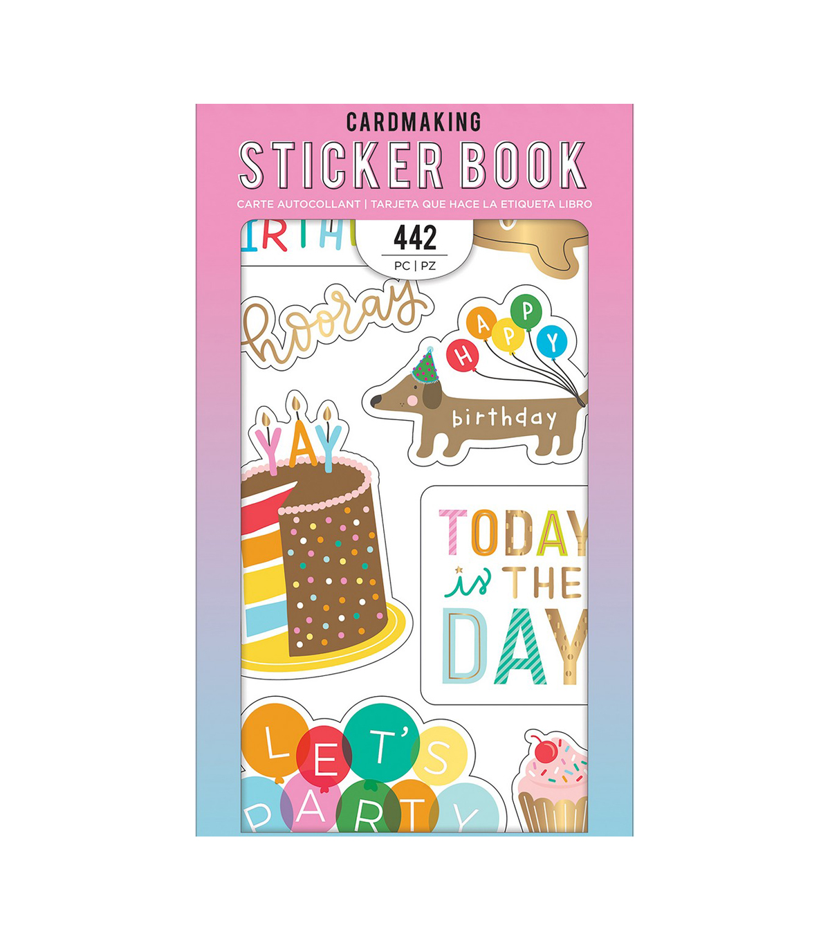 American Crafts Sticker Book 30/Pkg-Happy Hooray W/Gold Foil