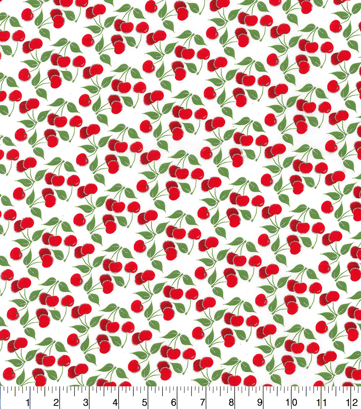 Novelty Cotton Fabric-Cherries With Glitter On White