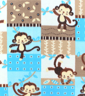 Nursery Fleece Fabric-Monkey Patchwork