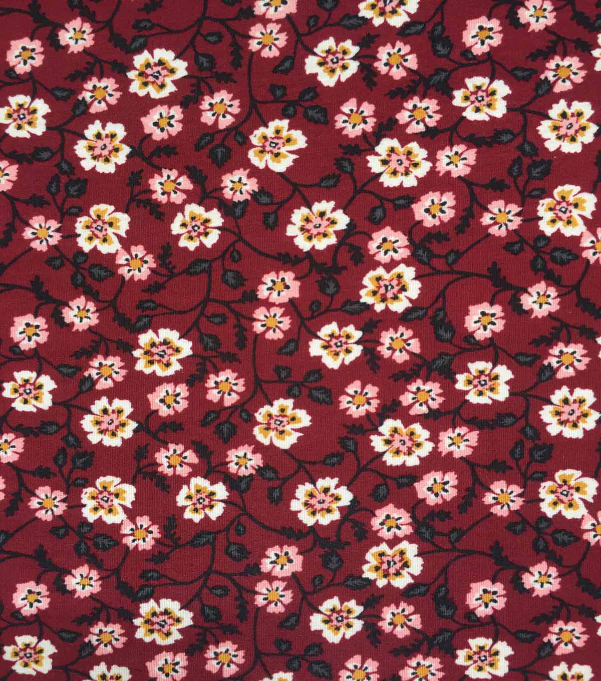 Apparel Knit Fabric-Floral on Burgundy