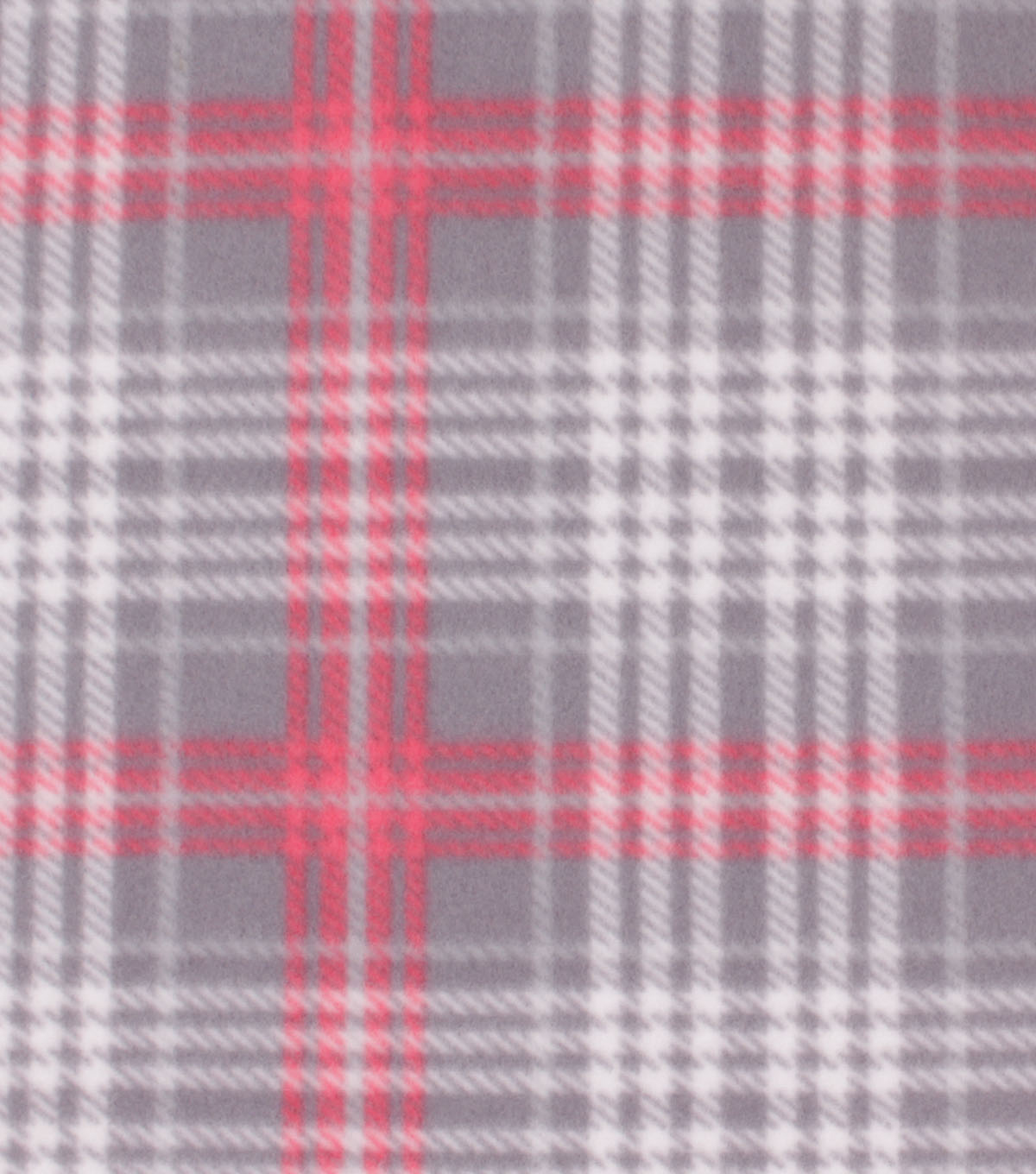 Blizzard Fleece Fabric-Madison Coral & Gray Plaid