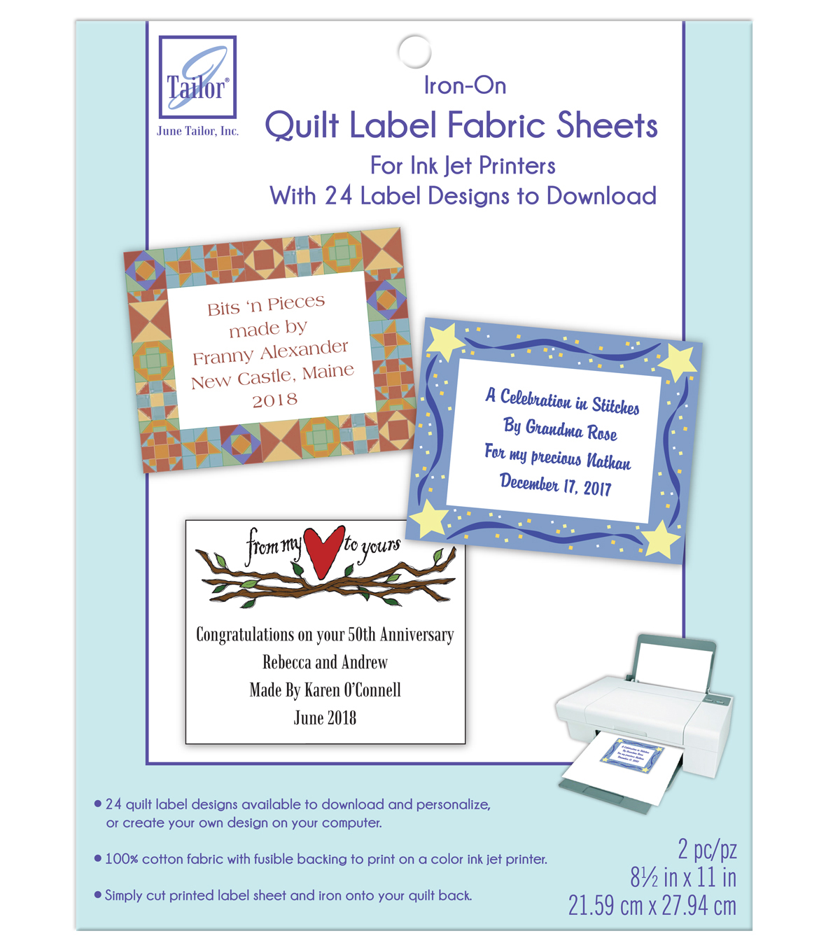 image relating to Printable Quilt Labels called June Tailor Quilt Label Cloth Sheets