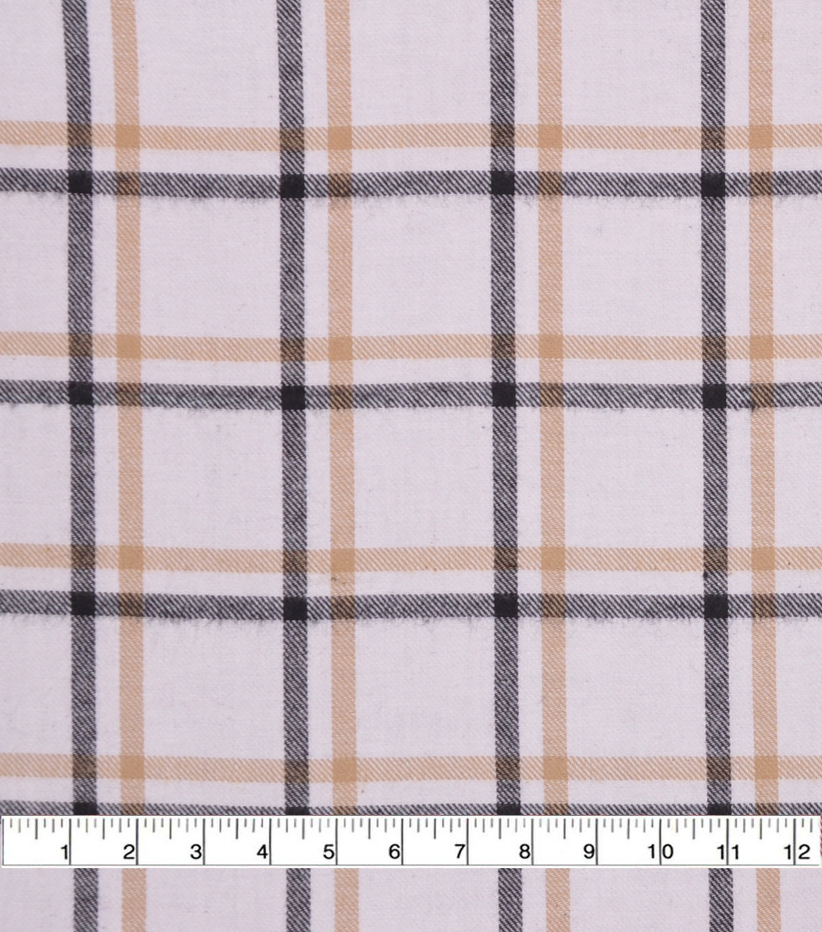 Flannel Shirting Fabric-Ivory Tan Navy Ombre Plaid