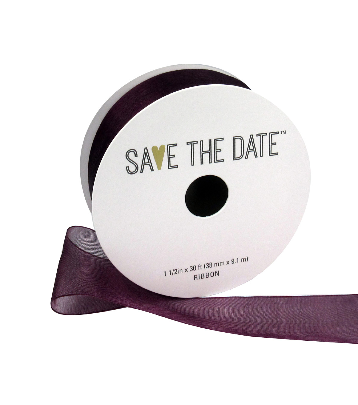 Save the Date 1.5\u0022 x 30ft Ribbon-Plum Sheer