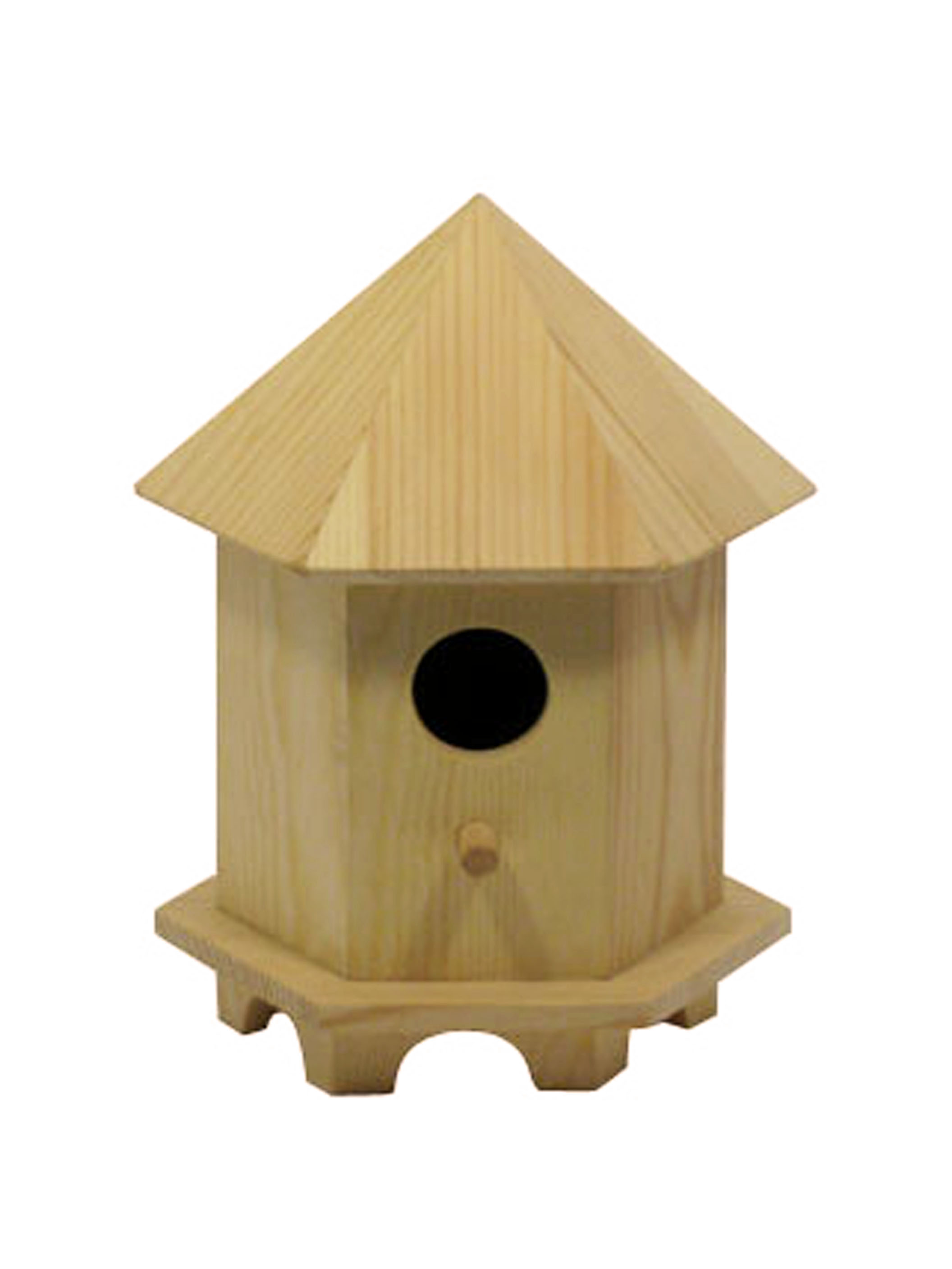 Large Birdhouse Hexagon Roof W/Raised Base
