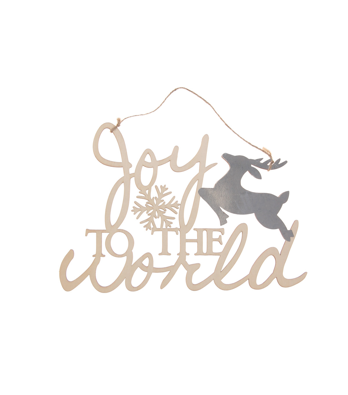 Handmade Holiday Craft Laser Cut Wood & Metal Sign-Joy to the World