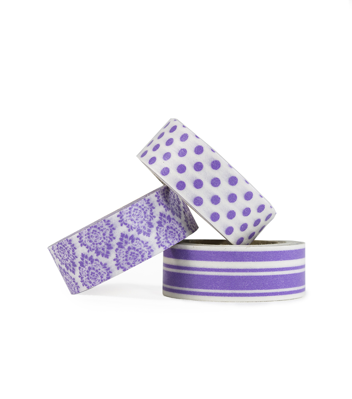 Park Lane 3 pk Washi Tapes 0.6\u0027\u0027x10 yds-Purple Basics
