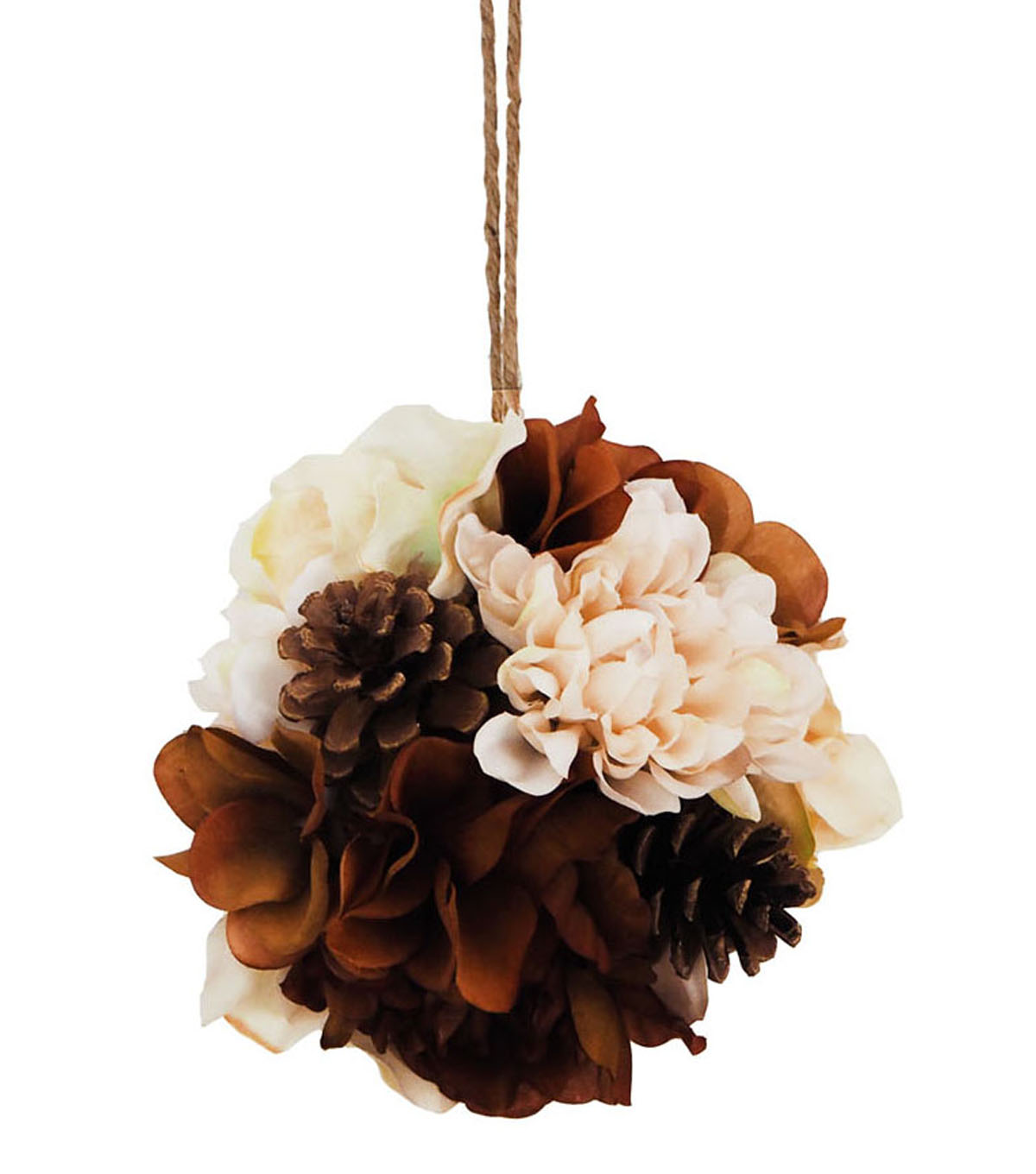Blooming Autumn Small Peony & Pinecone Kissing Ball