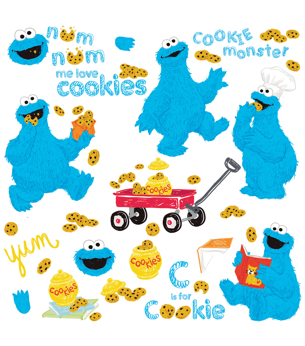 York Wallcoverings Wall Decals-Sesame Street Me Love Cookie Monster