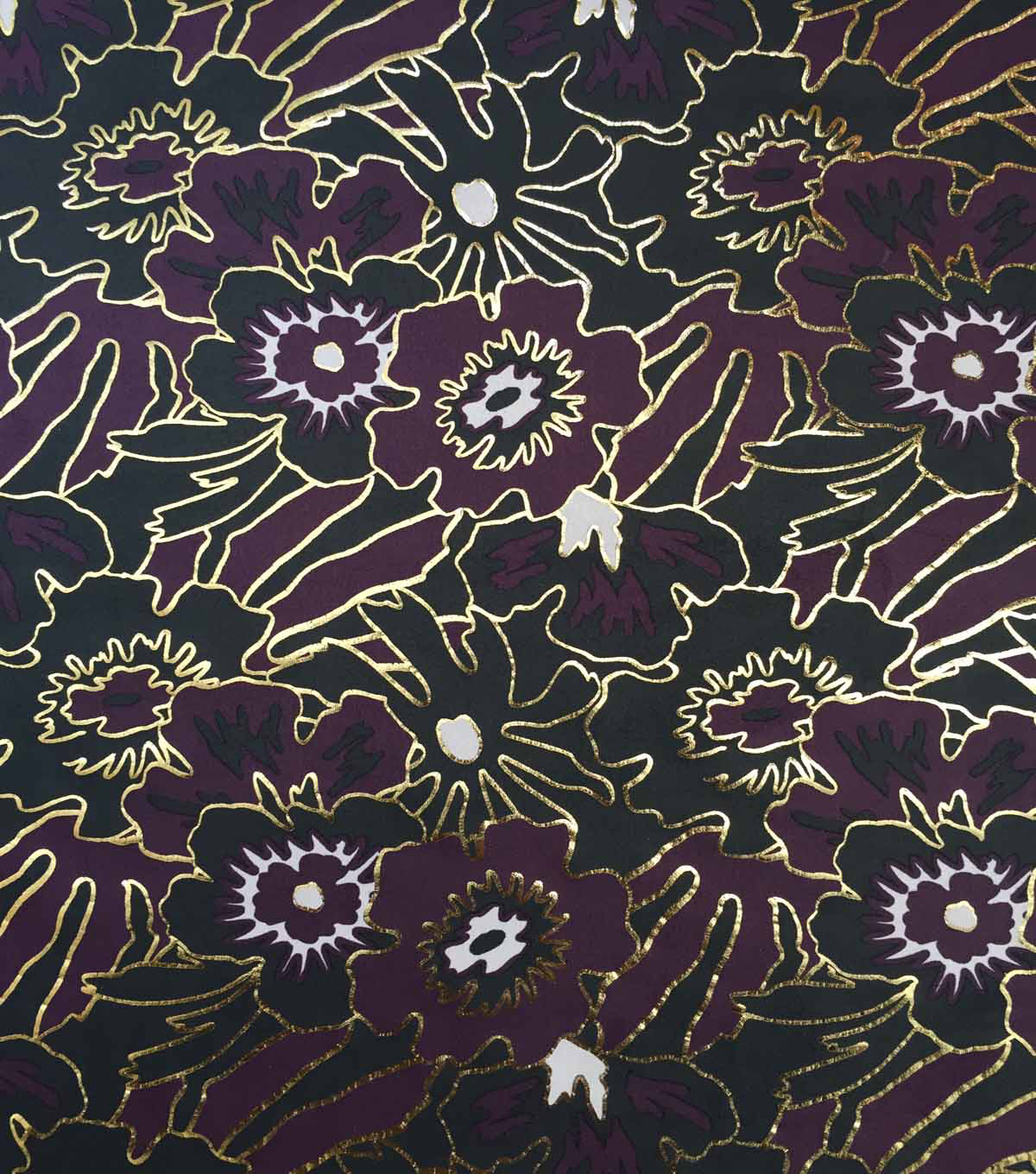 Scuba Knit Fabric-Fig & Foiled Mod Floral on Black