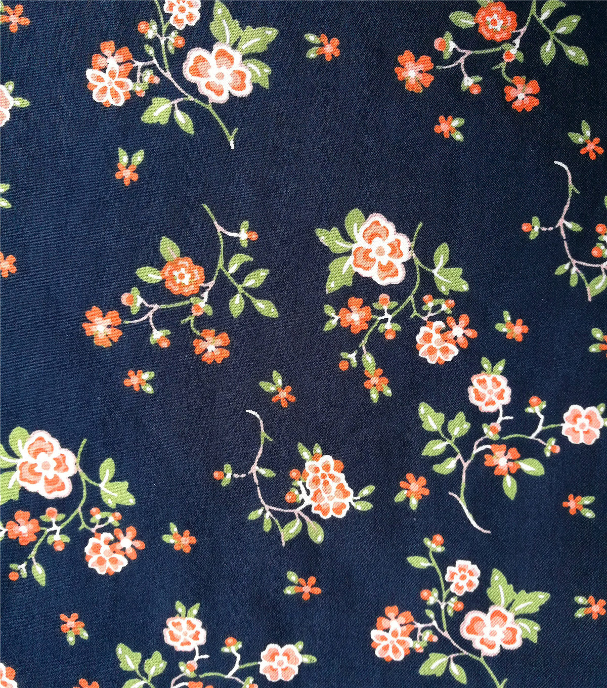 Cotton Shirting Fabric 57\u0027\u0027-Red Floral on Blue