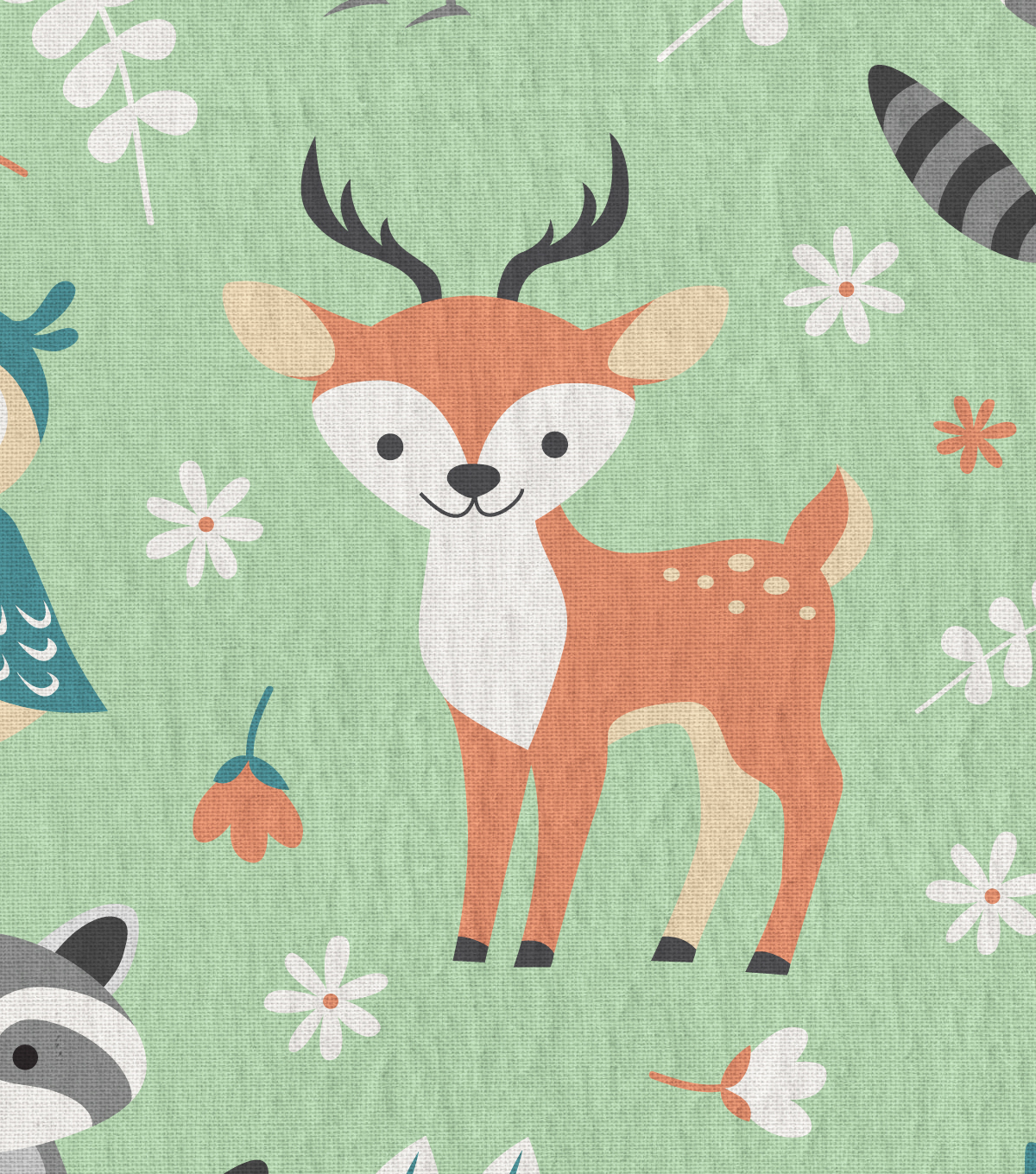 Snuggle Flannel Fabric 43\u0022-Woodland Magic Green