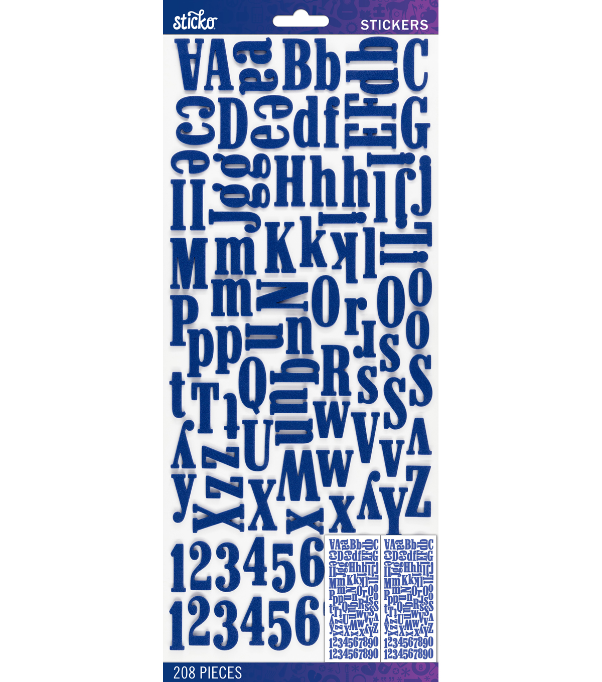 Sticko 208 Pack Foam Dimensional Alphabet Stickers-Blue