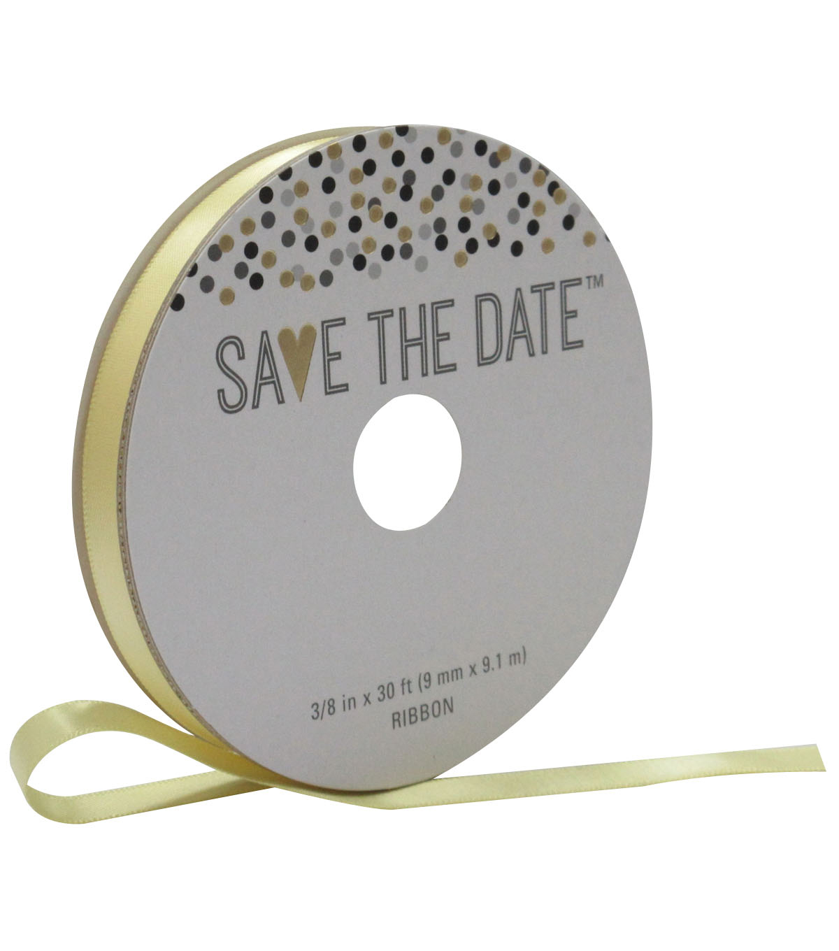 Save the Date 3/8\u0027\u0027 X 30\u0027 Ribbon-Yellow Satin