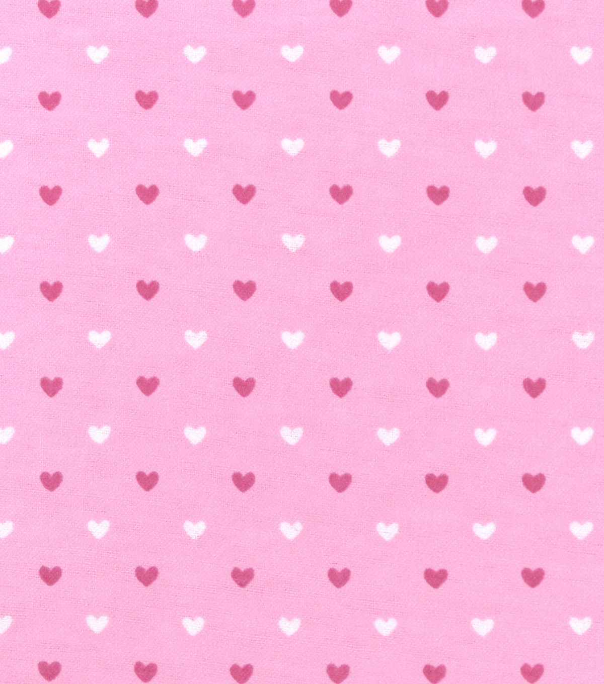 Nursery Flannel Fabric -Pink Hearts
