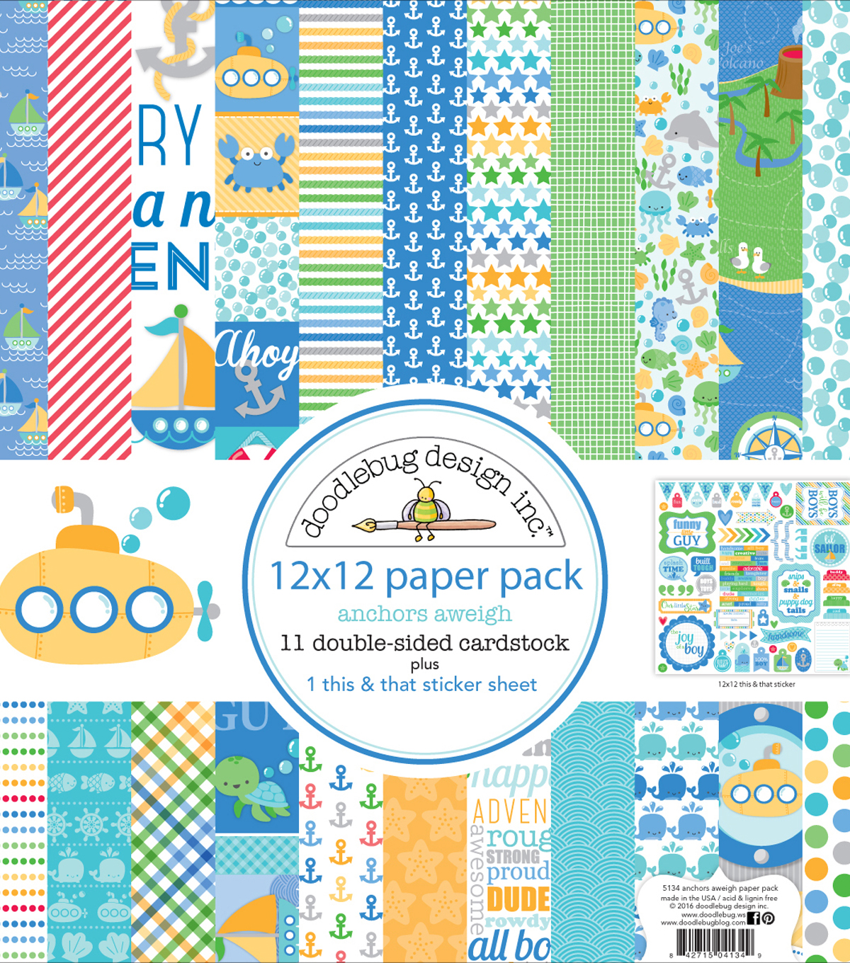 Doodlebug Double-Sided Paper Pack 12\u0022X12\u0022-Anchors Aweigh